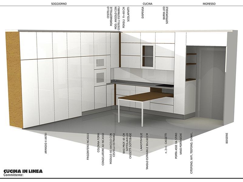 Progetto di cucina in linea su misura e posizione elettrodomestici