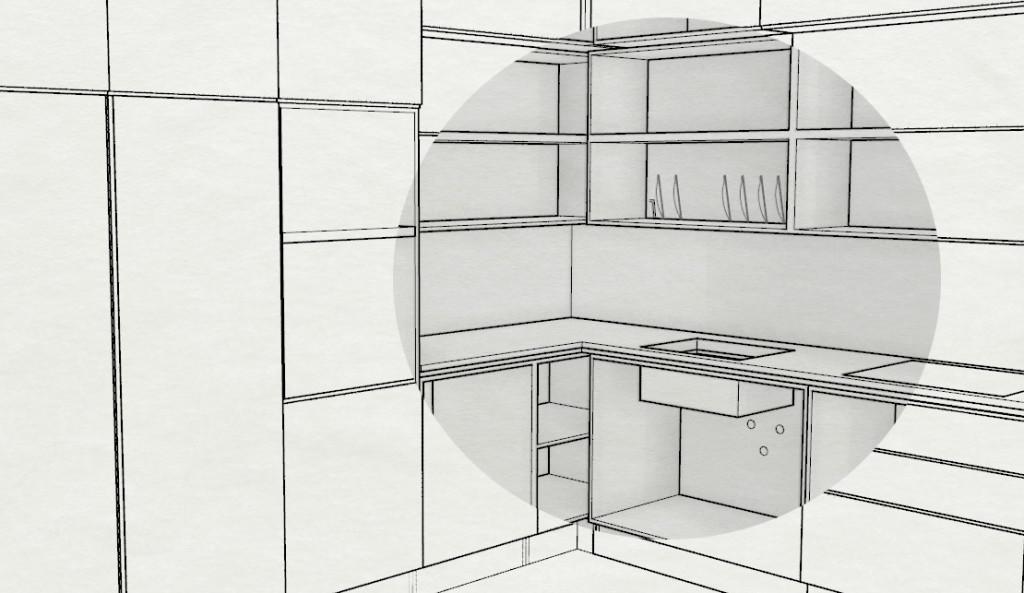 Cucina senza ante per mostrare la struttura dei moduli contenitori