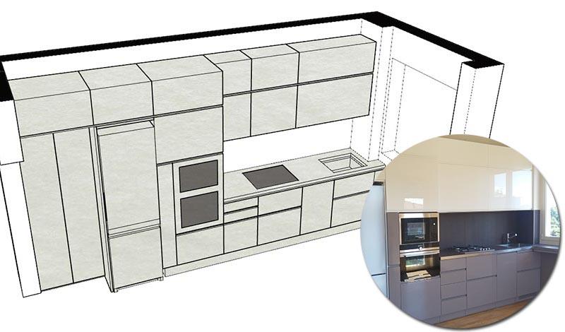 cucina su misura muro irregolare