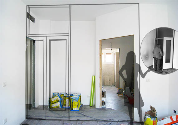 Fase di cantiere durante la ristrutturazione appartamento Milano: eliminando parte del corridoio il soggiorno si ingrandito di 3 mq.