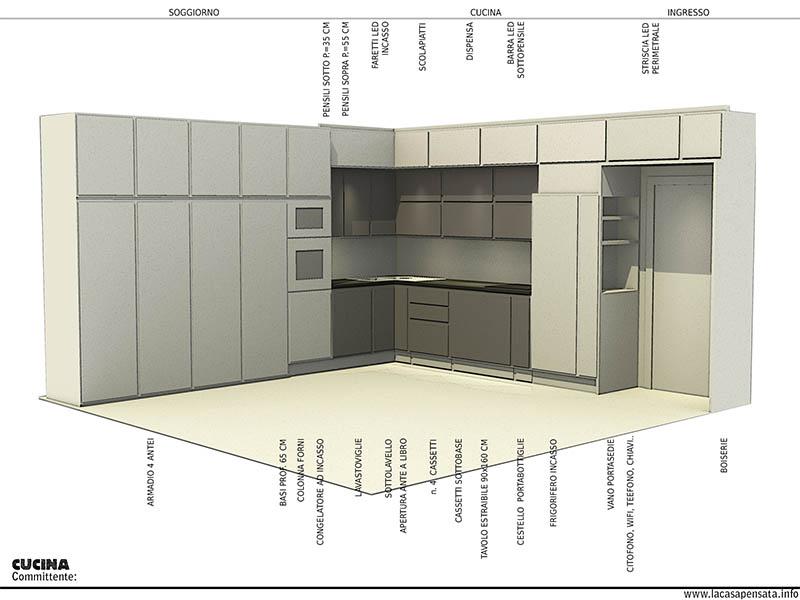 Progetto di cucina ad angolo su misura e posizione elettrodomestici
