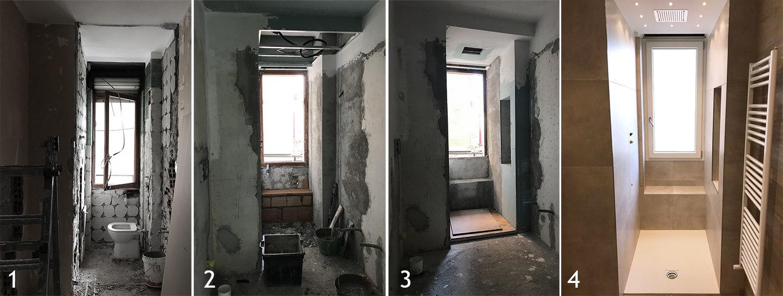 Trasformazione del bagno con doccia sotto finestra