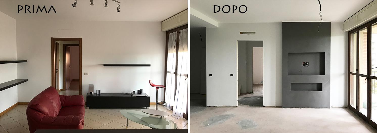 Prima e dopo i lavori ristrutturazione soggiorno