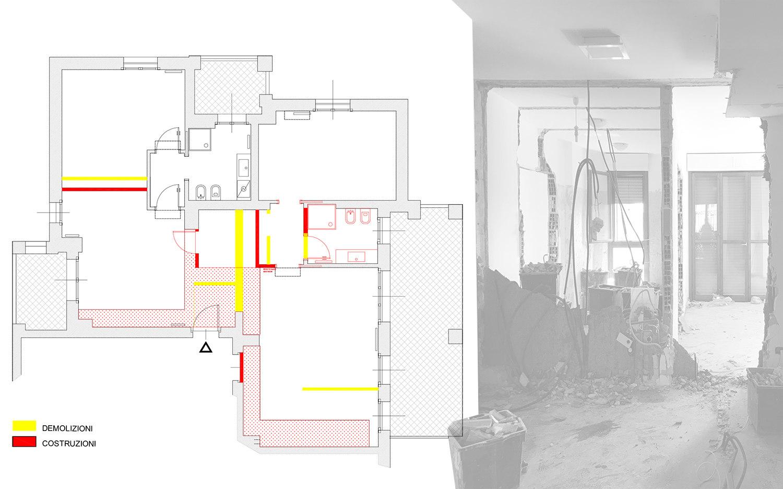 Pianta delle demolizioni e costruzioni unione appartamenti
