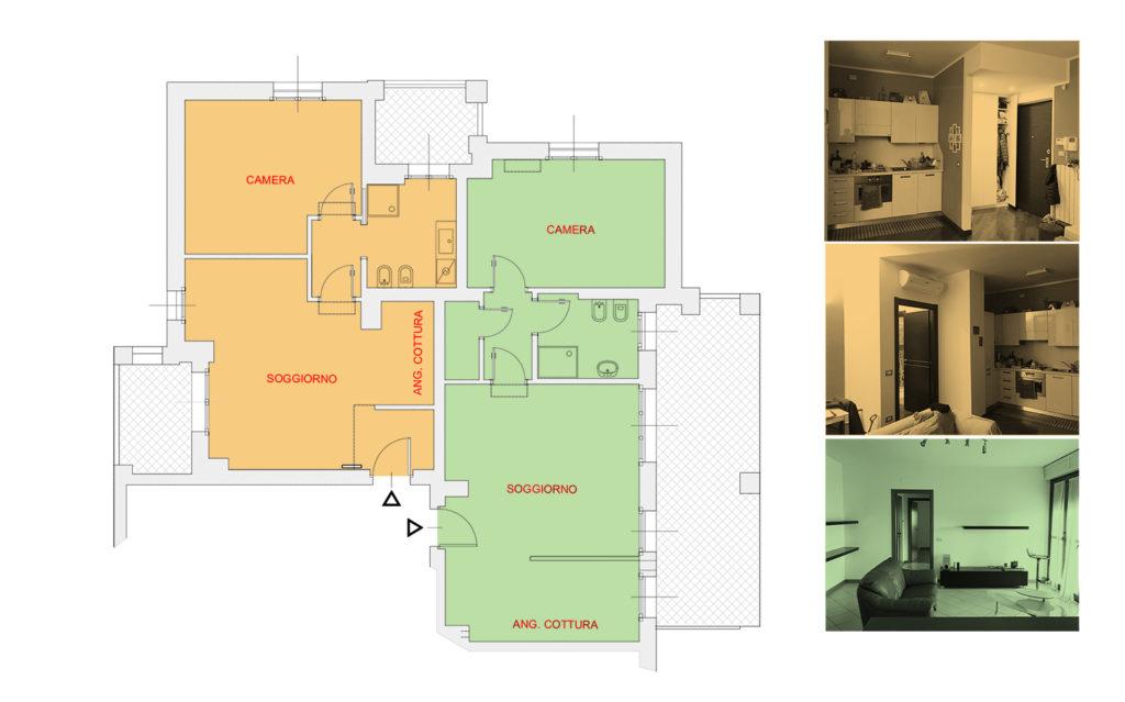 Schema di unione di due appartamenti vicini
