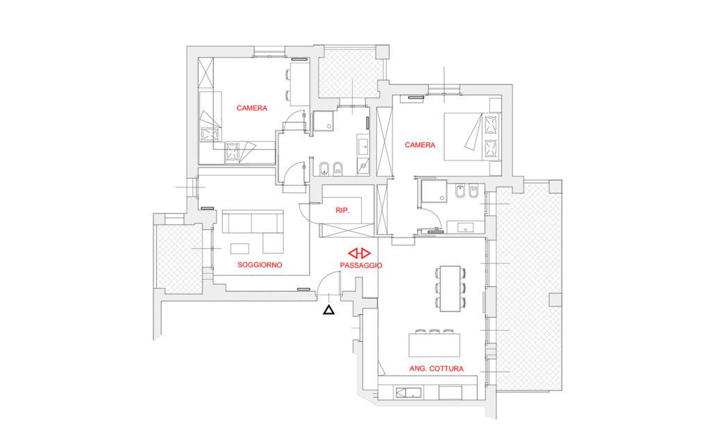Unione due appartamenti vicini progetto