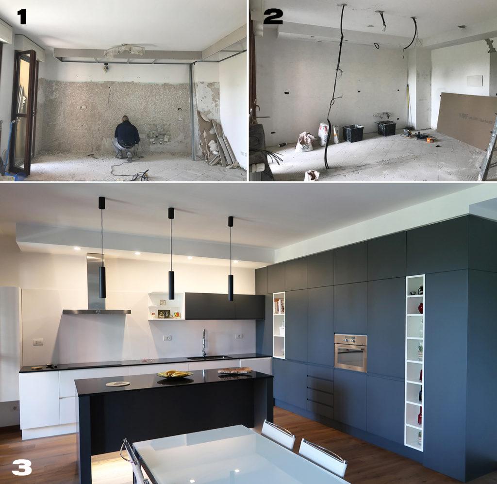 Cucina moderna con grande isola centrale, prima e dopo i lavori