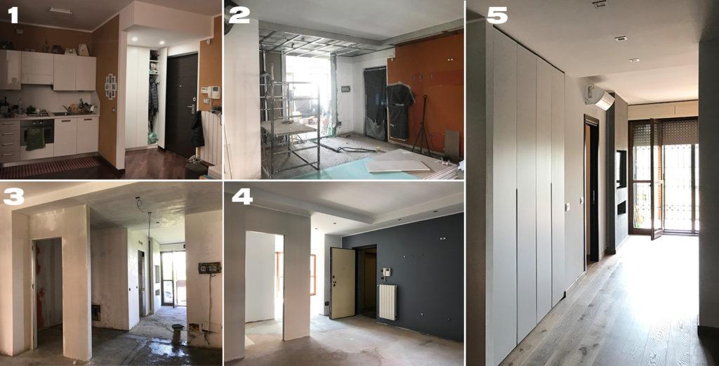 Unione di due appartamenti vicini: fasi di cantiere